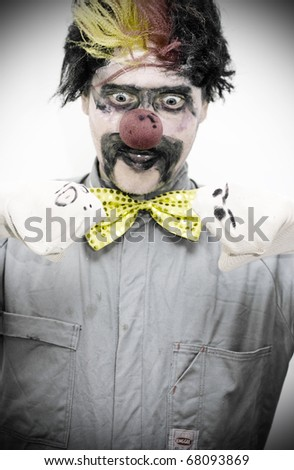 Clowning Around The Male Master Of Puppets Has Two Socks Talking To Each Other In A Dark And Entertaining Performance - stock photo