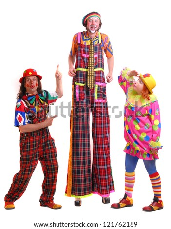 Clowns on a white background - stock photo
