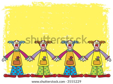 clowns on yellow background (raster) illustrated cartoon background - stock photo