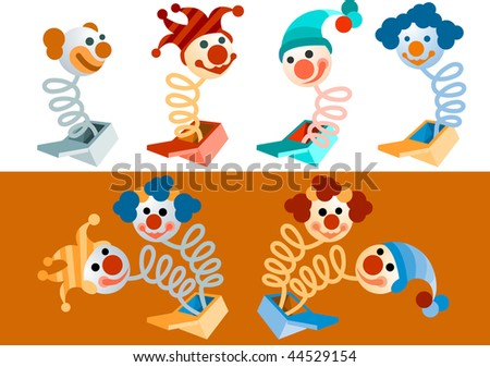 clowns popping out of boxes - vector also available in my portfolio - stock photo