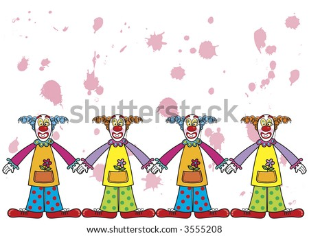 clowns with pink splats (raster) -  cartoon illustration with copy space