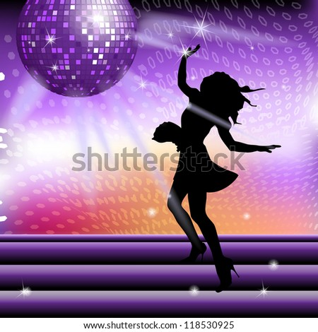 Club girl dancing under disco ball on the shining background - stock photo