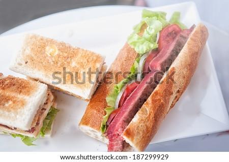 club sandwich and Beef steak sandwich - stock photo