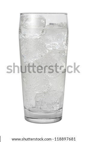 Club Soda Water Isolated with clipping path on a white background - stock photo
