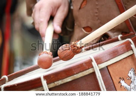 clubs snare drum medieval battle - stock photo