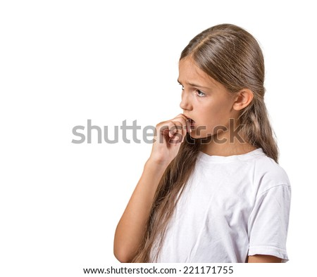 Clueless, procrastination. Portrait teenager girl with finger in mouth, sucking thumb, biting fingernail in stress  isolated white background. Negative emotion facial expression feeling. Body language - stock photo