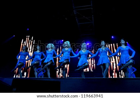 CLUJ NAPOCA - OCTOBER 9: Dancers from the irish Lord of the Dance group performing live at Transylvania International Music and Art Festival on  Oct. 9, 2012 in Cluj, Romania - stock photo