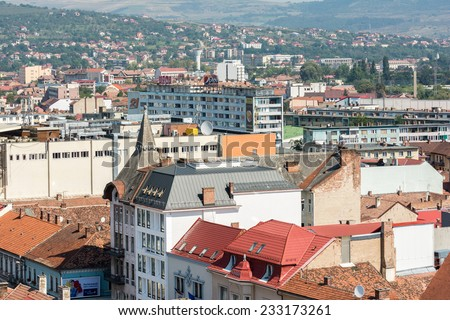 CLUJ NAPOCA, ROMANIA - AUGUST 21, 2014: High View Of Cluj Napoca City the second most populous city in Romania and the seat of Cluj County in the northwestern part of the country.