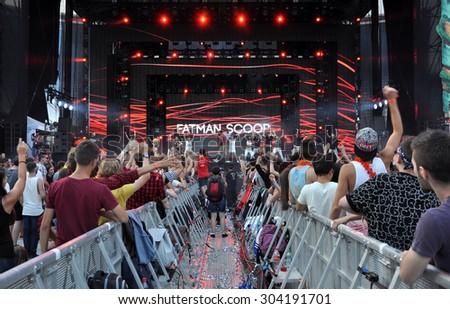 CLUJ NAPOCA, ROMANIA - AUGUST 2, 2015: Rapper Fatman Scoop singing live at the Untold Festival  - stock photo