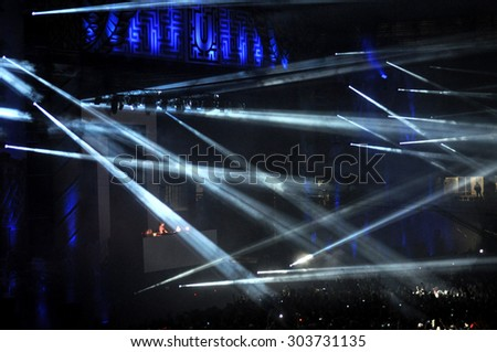 CLUJ NAPOCA, ROMANIA - JULY 31, 2015: Stage lights during an Avicii live concert at the Untold Festival  - stock photo
