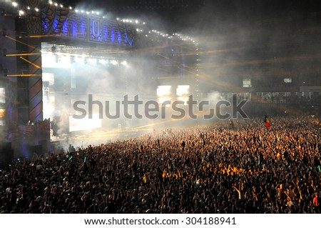 CLUJ NAPOCA, ROMANIA - JULY 31, 2015: Swedish Dj Avicii performs a live concert at the Untold Festival in the European Youth Capital city of Cluj Napoca - stock photo