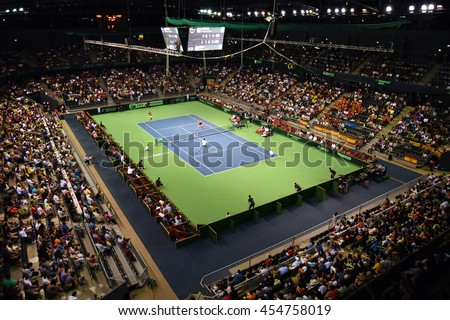 CLUJ NAPOCA, ROMANIA - JULY 16, 2016: Tennis players playing at a doubles match during a Davis Cup by BNP Paribas match Romania vs Spain