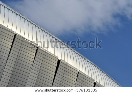 CLUJ-NAPOCA, ROMANIA - MARCH 2, 2016: Detail of the new Uefa Elite football stadium of Cluj Napoca. It was built in 2011 and is home for major sport events