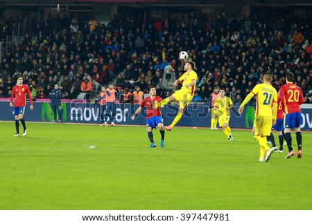 CLUJ-NAPOCA, ROMANIA - MARCH 27, 2016: Soccer players of the National Football Team of Spain play against Romania during a friendly match before Euro 2016 - stock photo