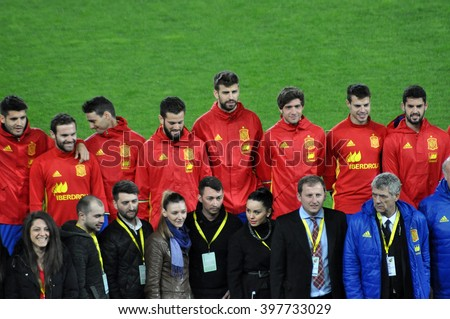 CLUJ-NAPOCA, ROMANIA - MARCH 26, 2016: The National football team of Spain making a group photo on the field, during the warm-up before the Romania-Spain friendly match - stock photo