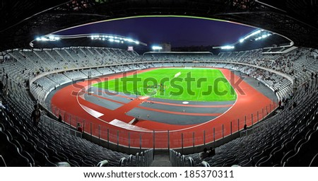 CLUJ NAPOCA, ROMANIA - OCTOBER 1: Grand opening of Cluj Arena the largest soccer stadium in Transylvania. The UEFA Elite 31,000 seat stadium was open on October 1, 2011 in Cluj N, Romania - stock photo