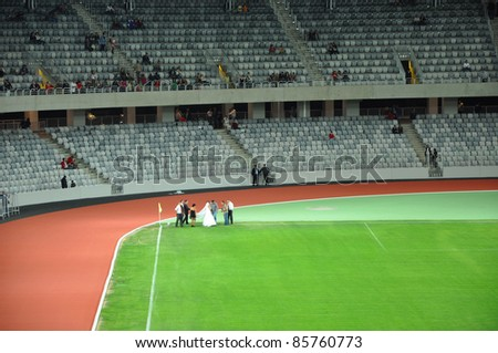 CLUJ NAPOCA, ROMANIA - OCTOBER 1: Grand opening of Cluj Arena the largest soccer stadium in Transylvania. The UEFA Elite 31,000 seat stadium was open for visiting on October 1, 2011 in Cluj Napoca, Romania - stock photo