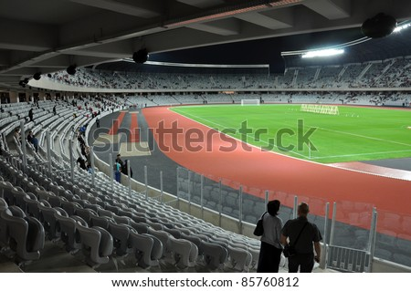 CLUJ NAPOCA, ROMANIA - OCTOBER 1: Grand opening of Cluj Arena the largest soccer stadium in Transylvania. The UEFA Elite 31,000 seat stadium was open for visiting on October 1, 2011 in Cluj N, Romania - stock photo
