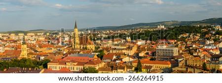 Cluj panorama cityscape with catholic cathedral in Transylvania, Romania - stock photo