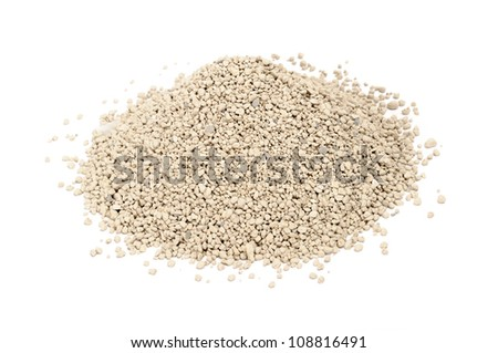 Clumping Clay Cat Litter Isolated on White Background - stock photo