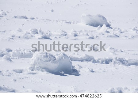 clumps of snow, winter