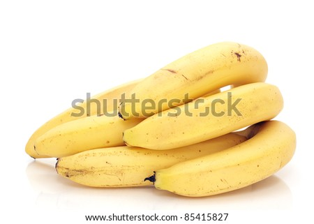 Cluster of bananas isolated on white background