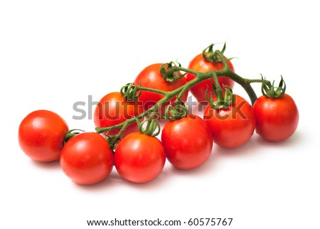 Cluster of cherry  tomatoes on the white isolated background - stock photo