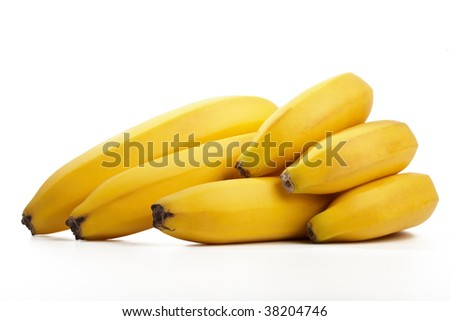 Cluster of fresh bananas isolated on a white background