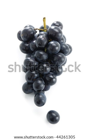 Cluster of grapes isolated on white - stock photo