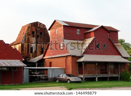 cluster of mine buildings - stock photo