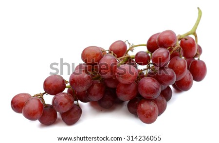 cluster of red grape isolated on white background  - stock photo