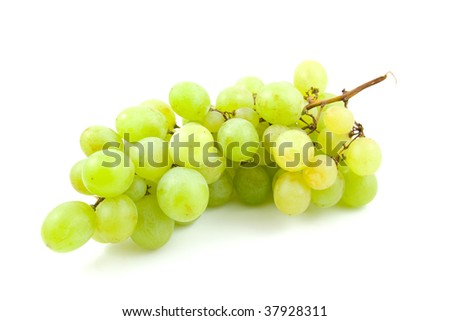 Cluster of white fresh grapes isolated on white background
