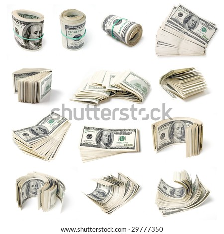 Clusters dollars set on white background (isolated).