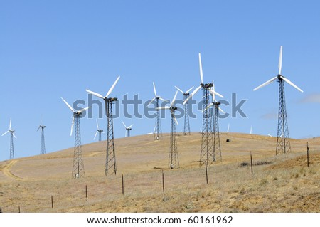 Clusters of wind-powered generators form multi-megawatt wind farms in Central California