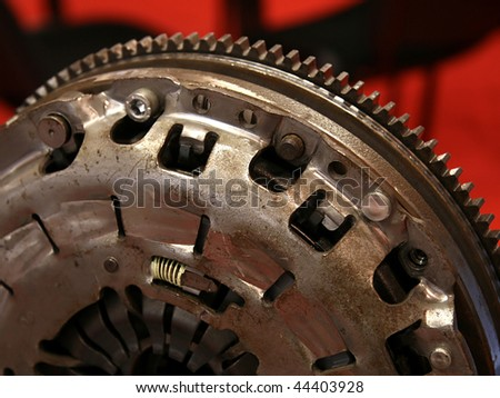 Clutch part ready for gearbox close up - stock photo