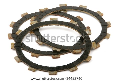 Clutch plates isolated on white old - stock photo