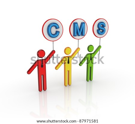 CMS concept.Isolated on white background.3d rendered. - stock photo