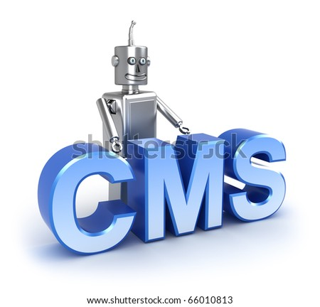 CMS : content management system concept. Isolated on white - stock photo