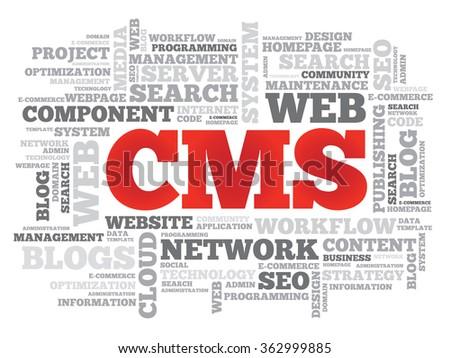 CMS Content Management System word cloud, business concept - stock photo