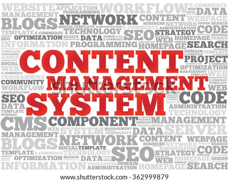 CMS Content Management System word cloud, business concept background - stock photo