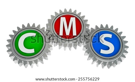 CMS gears - concept of content management system, three-dimensional rendering - stock photo