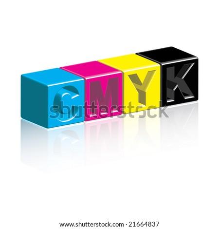 CMYK Boxes - stock photo
