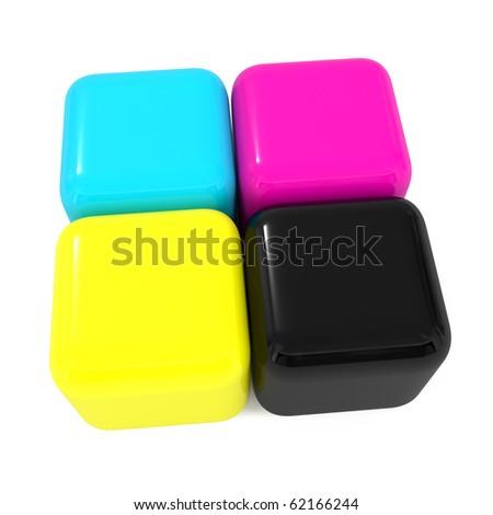 CMYK boxes - 3d illustration - stock photo