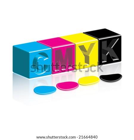 CMYK Boxes & Inks - stock photo