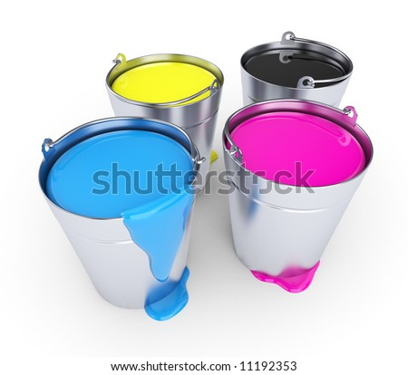 CMYK - Buckets with a paint - stock photo
