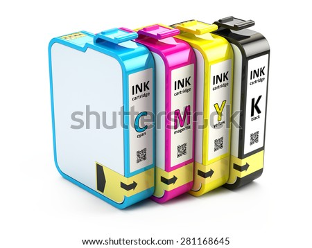 CMYK cartridges isolated on white background - stock photo