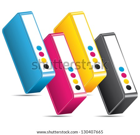 CMYK CMJN ink toners. Colors printing icon.