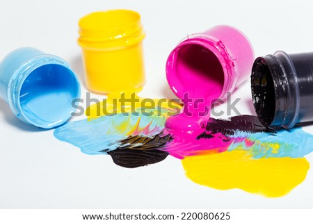 cmyk color background on white - stock photo