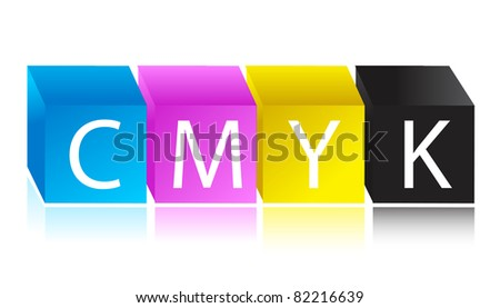 CMYK color cube illustration design - stock photo