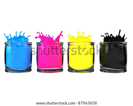 CMYK color paint in glass vessel - stock photo